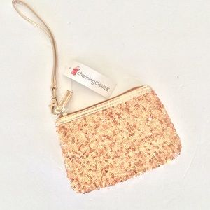 NWT ROSE GOLD SEQUIN CLUTCH WRISTLET